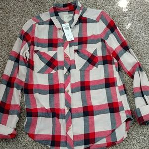 Red, black, and cream flannel